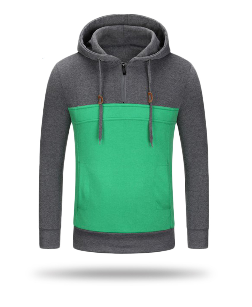 grey and green hoodies