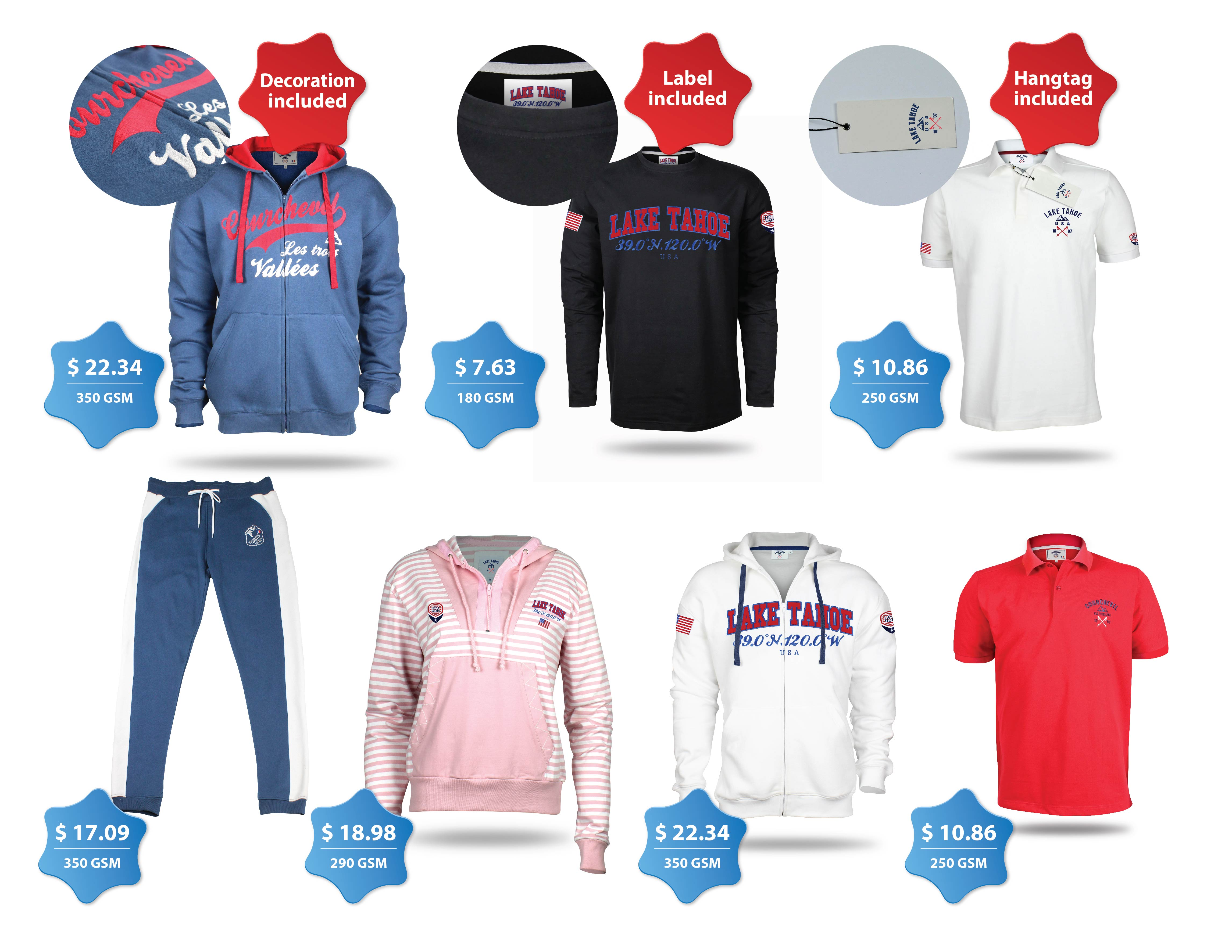 Clothing Examples of Ski Resort Merchandise for the US