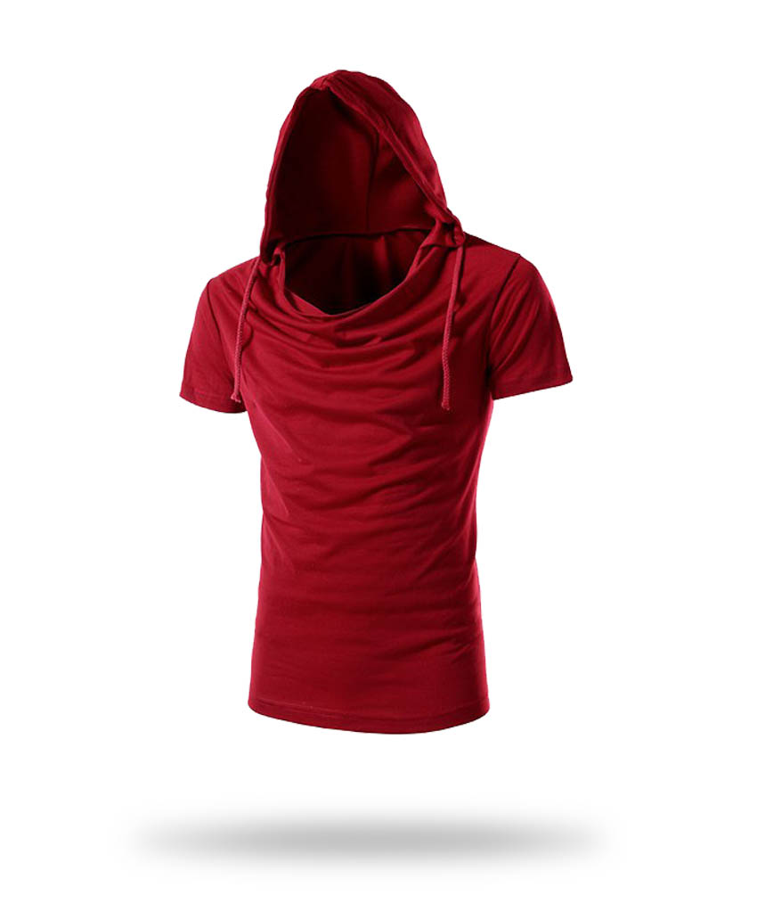 Red t-shirt with hoody