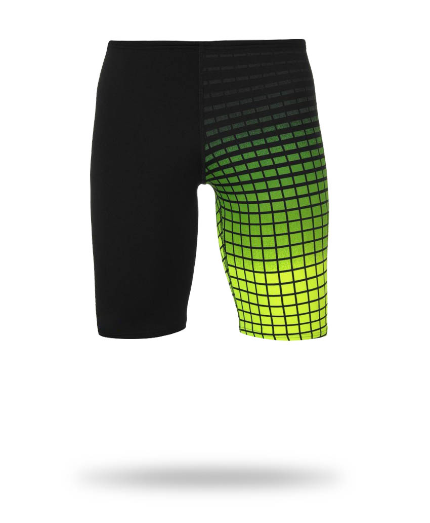 black and yellow swimming clothing