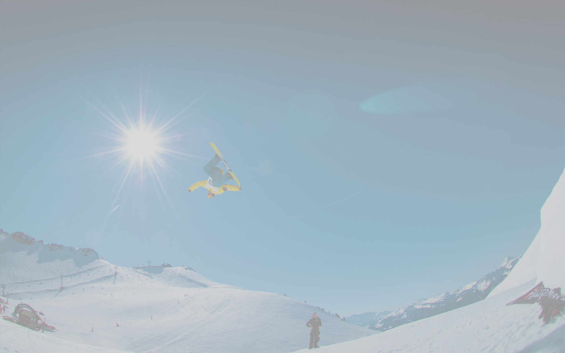 Snowboarder background for the skiing resort page