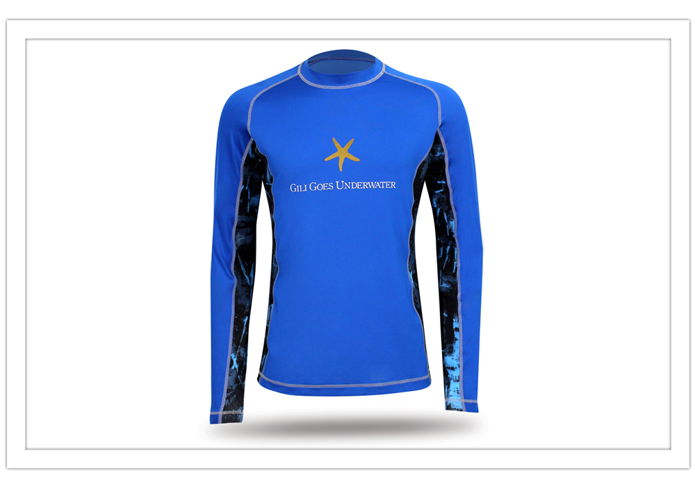 blue long sleeve rush guard for gili