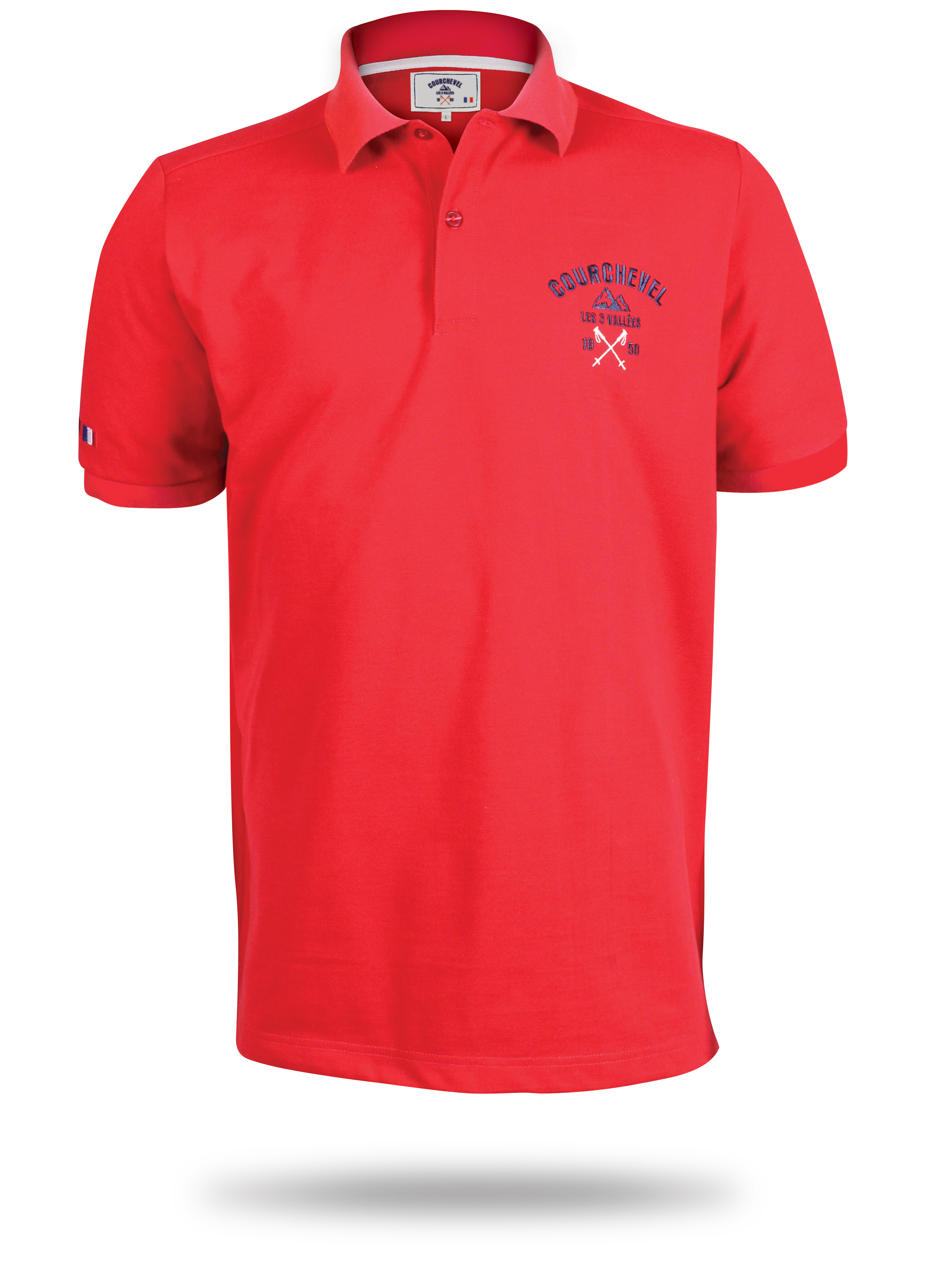 Red Polo with logo on it for the ski club of courchevel
