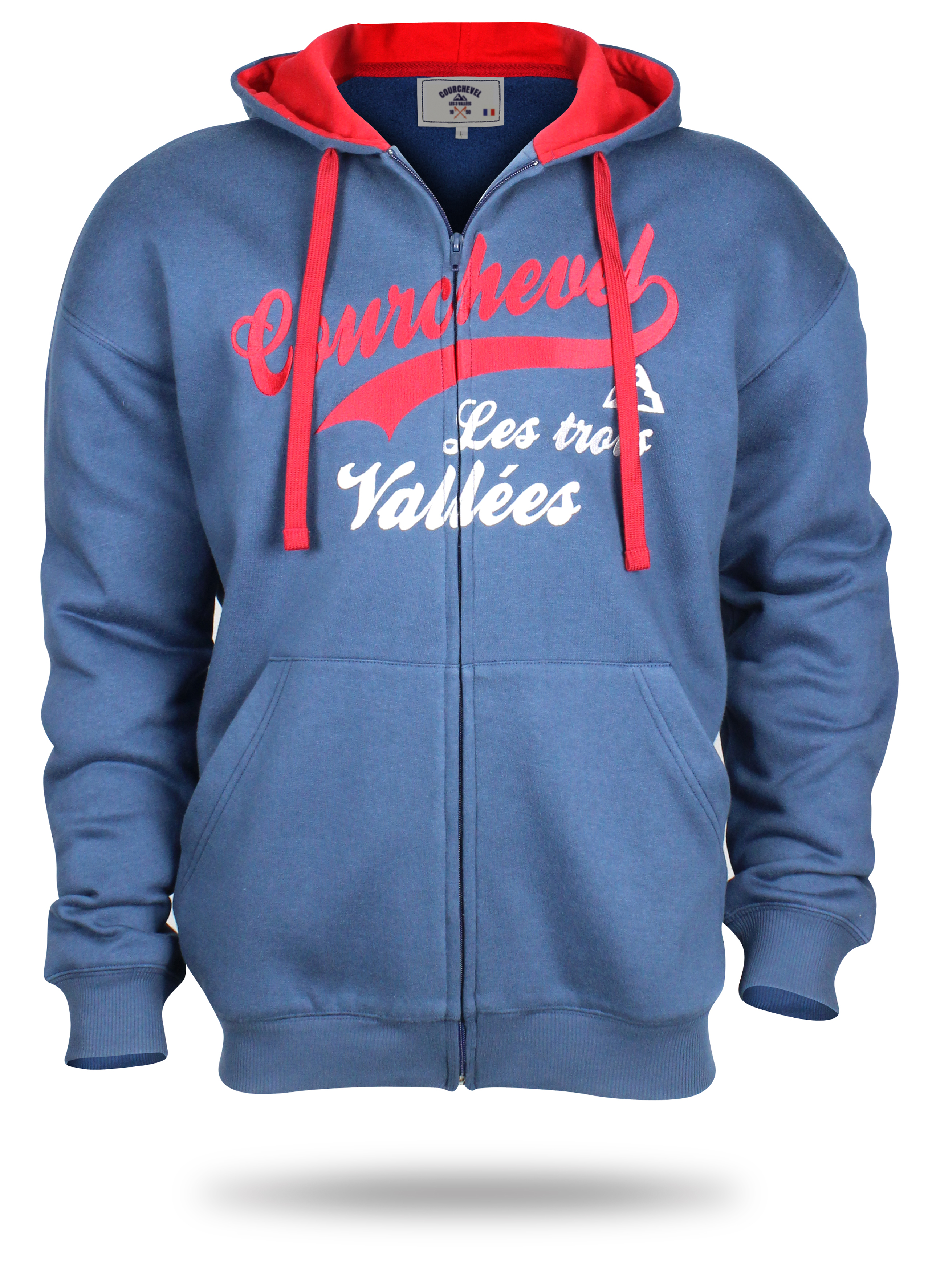 Blue and red Hoody with logo Courchevel