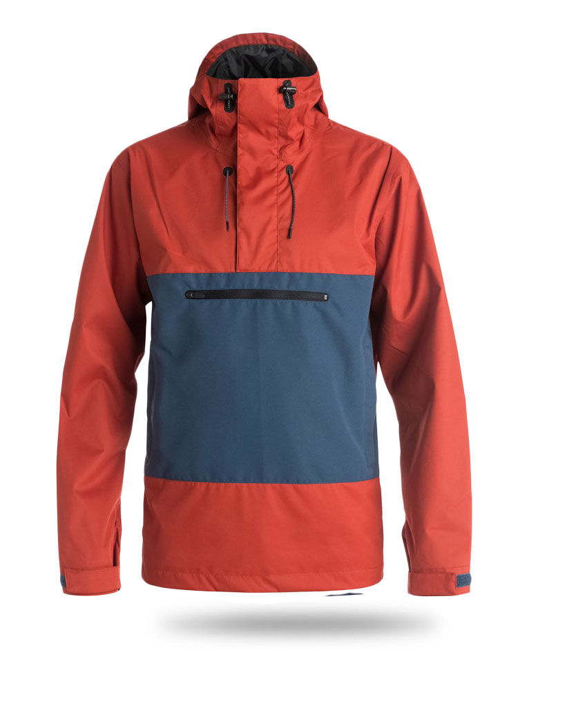 red and blue snowboard jacket