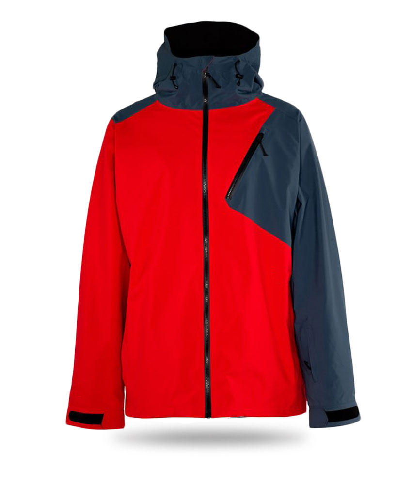 red and grey snowboard jacket