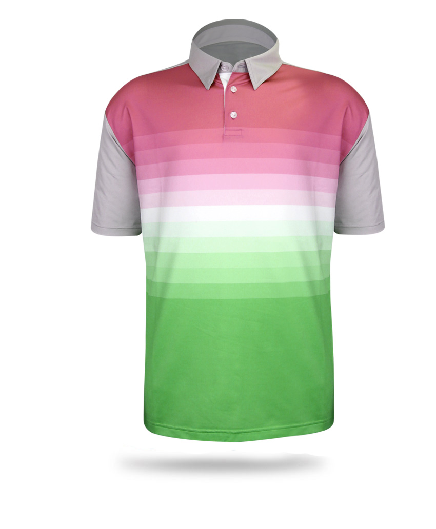 green and pink polo