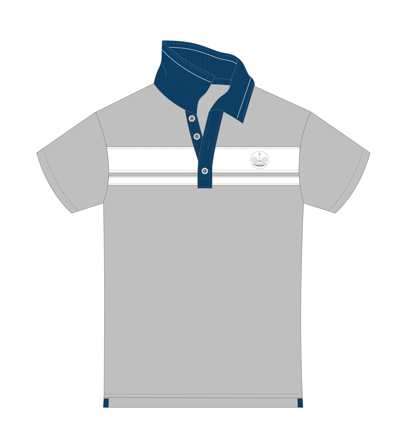 grey and whit tennis polo sketch