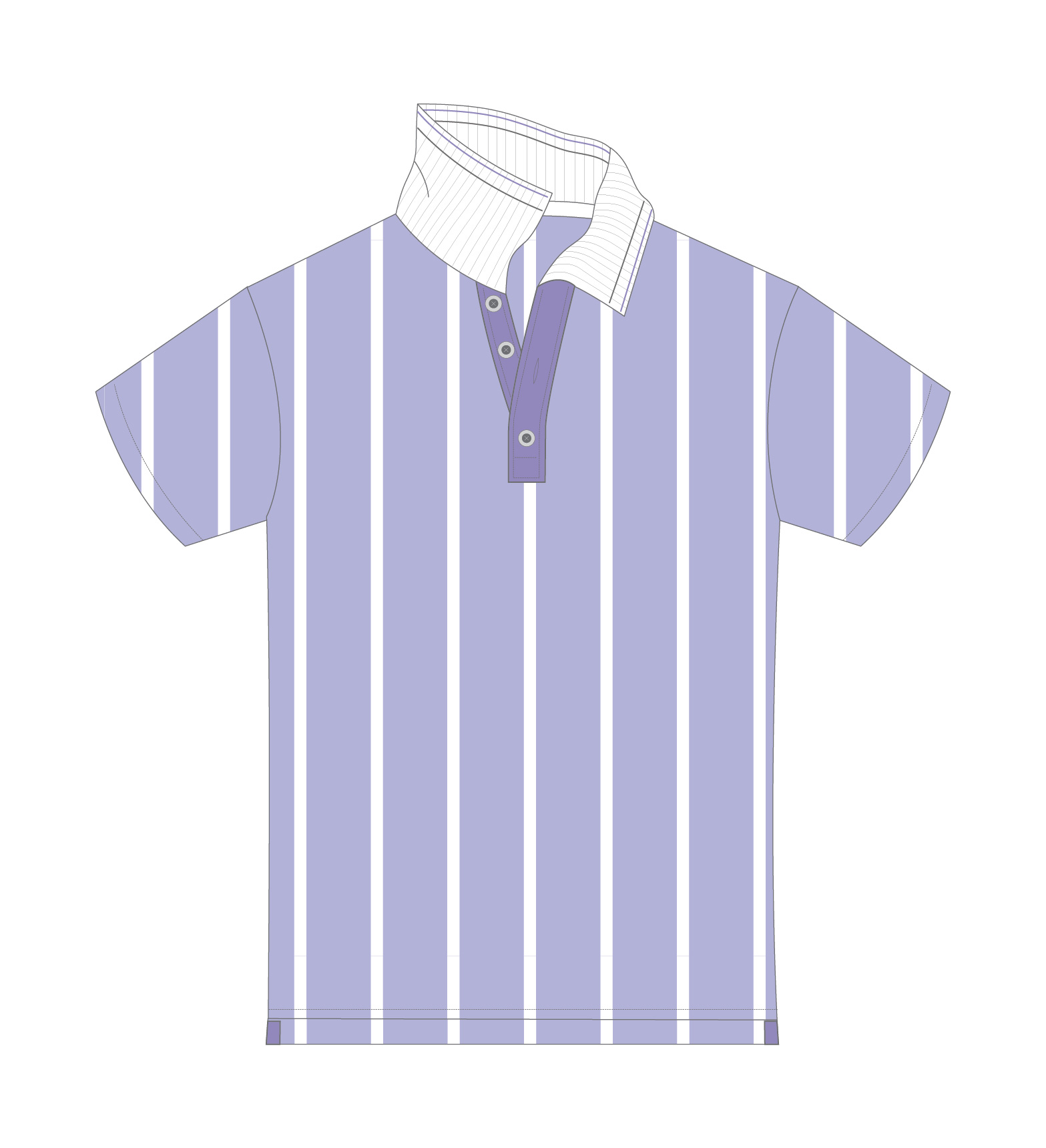 blue and white stripe tennis polo design sketch