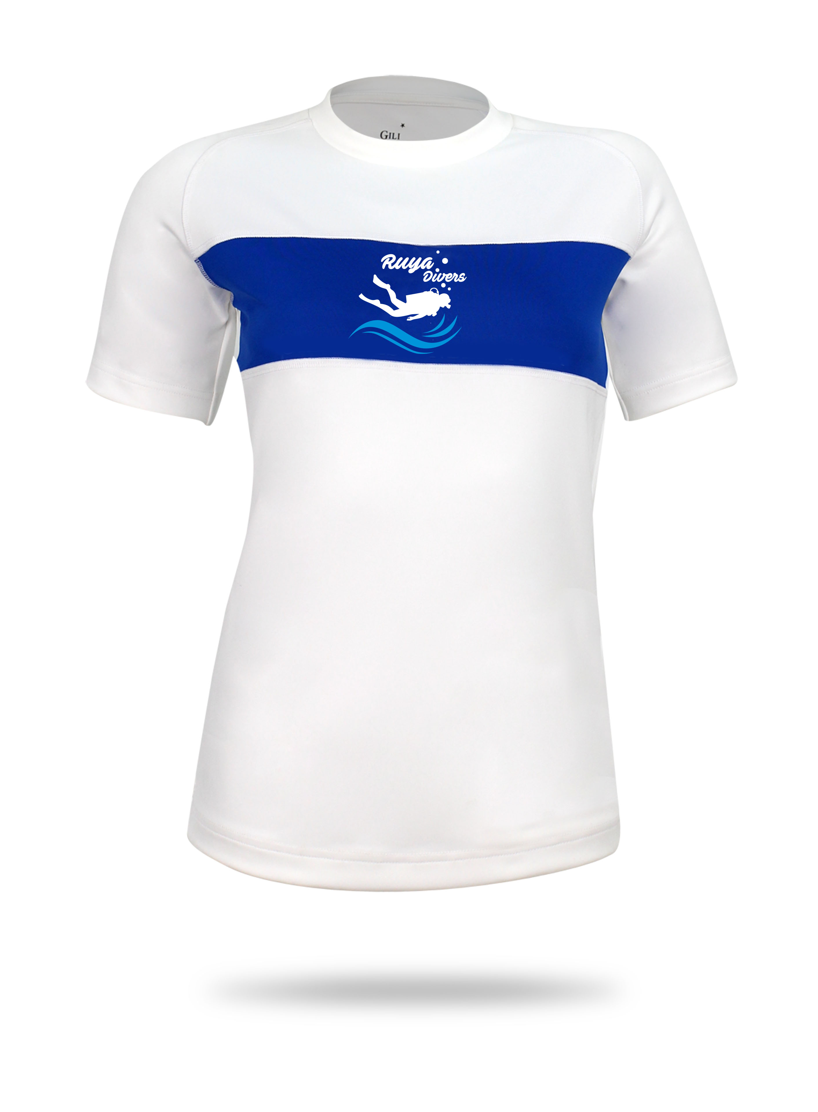 White and blue short sleeve rush guard