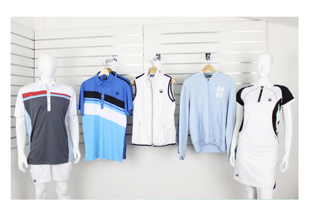 Tennis clothing in a shop